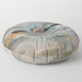 Gentle Beauty [3] - an elegant acrylic piece in deep purple, red, gold, and white Floor Pillow