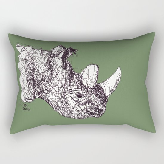 Reginald Rhinoceros Rectangular Pillow