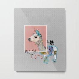 NO PROB-LLAMA mixed media abstract collage art Metal Print