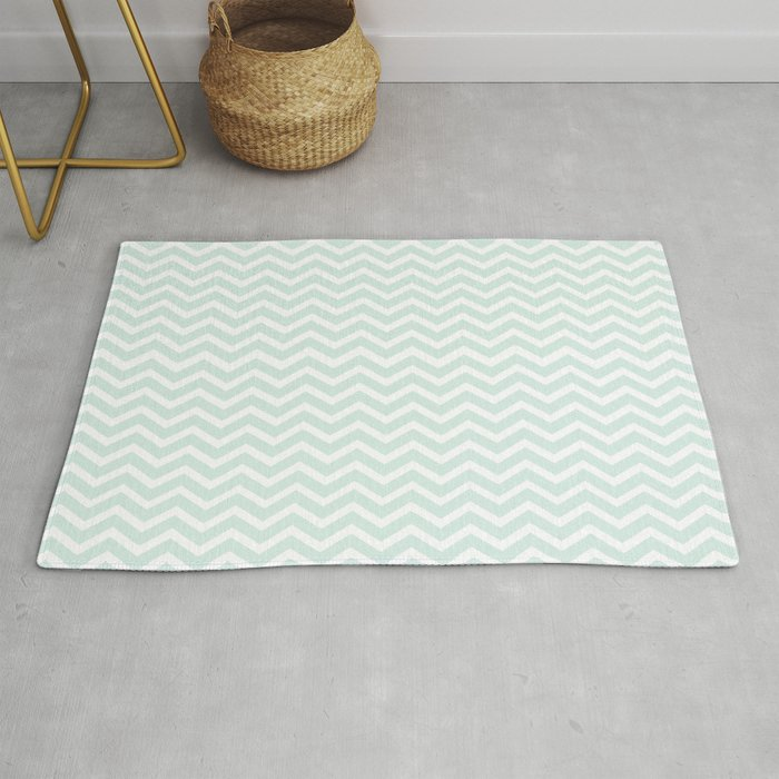 Mint White Chevron Zig Zag Rug By