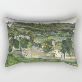 Stolen Art - View of Auvers-sur-Oise by Paul Cezanne Rectangular Pillow