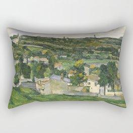 Stolen Art - View of Auvers-sur-Oise by Paul Cezanne Rectangular Pillow