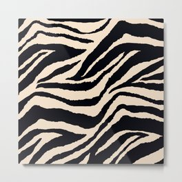 Zebra Animal Print Black and off White Pattern Metal Print