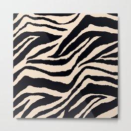 Zebra Animal Print Black and off White Pattern Metal Print