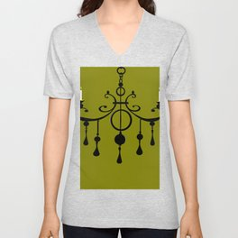 A Chandler with Candles and a Green Background Unisex V-Neck