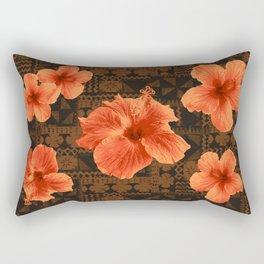 Kalalau Tapa Hawaiian Hibiscus Vintage Inspired Print Rectangular Pillow