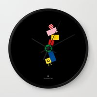 pixel art Wall Clocks featuring Pixel by Pierre-Emmanuel Lyet