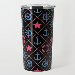 Nautical decor on black background . Travel Mug