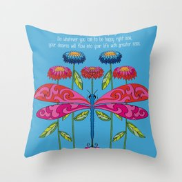 Law of Attraction Dragonfly Throw Pillow
