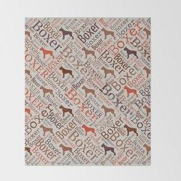 Boxer dog Word Art Throw Blanket