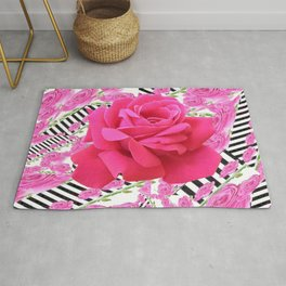 MODERN ABSTRACT CERISE PINK ROSE GARDEN  ART Rug