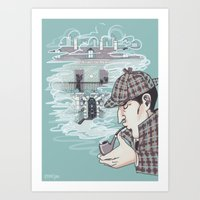 221b Art Prints featuring 221B Baker Street by enerjax
