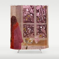 snow Shower Curtains featuring snow by Lara Paulussen