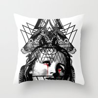 pain Throw Pillows featuring PAIN by DIVIDUS