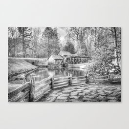 Mabry Mill - Blue Ridge Parkway - Dan Virginia - Black and White Canvas Print