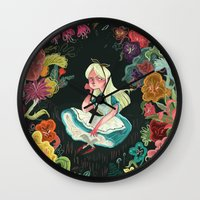 alice Wall Clocks featuring Alice in Wonderland by Karl James Mountford