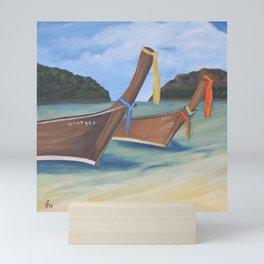 Longtail Boats On Tropical Beach Mini Art Print