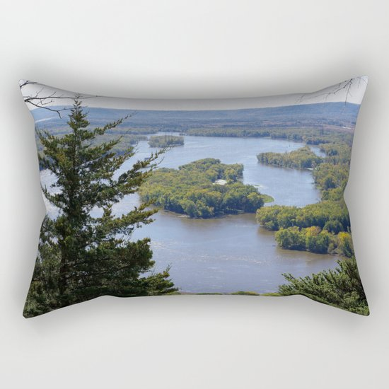 Upper Mississippi River, looking downriver from Buena Vista Park, Alma, WI Rectangular Pillow