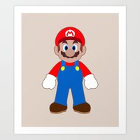 sticker Art Prints featuring Sticker Mario by Rebekhaart