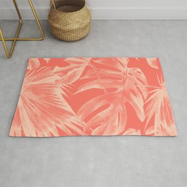 Living Coral Tropical Palm Leaves Monstera Rug