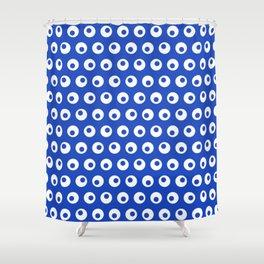 Minimal Shape 4 - Blue White Circle Googly Eyes Shower Curtain