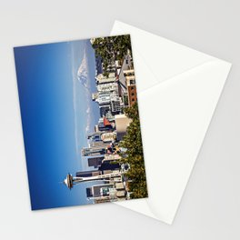 Seattle Overlook with Mt Rainier Stationery Cards