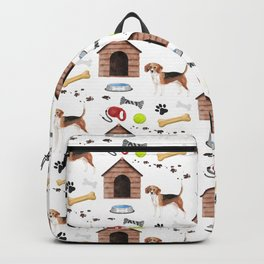 Beagle Half Drop Repeat Pattern Backpack