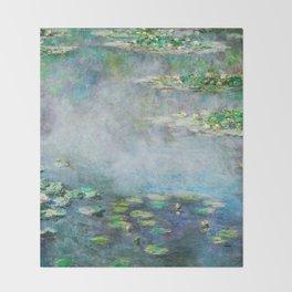 1906 Waterlily on Canvas.  Claude Monet . Vintage fine art. Throw Blanket