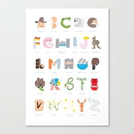 Australian Alphabet Canvas Print