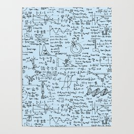 Physics Equations // Baby Blue Poster