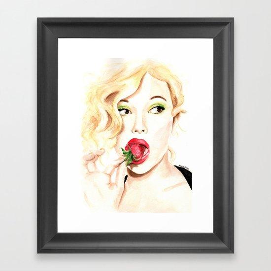 Strawberry. Scarlet Johansson. Framed Art Print