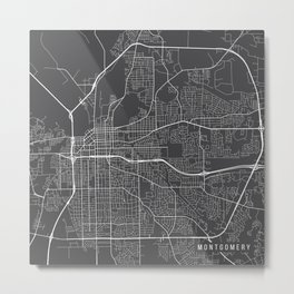 Montgomery Map, USA - Gray Metal Print
