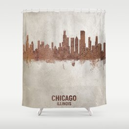 Chicago Illinois Rust Skyline Shower Curtain