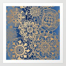 Blue and Gold Mandala Pattern Art Print