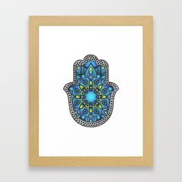 Colorful Blue Hamsa Hand Framed Art Print