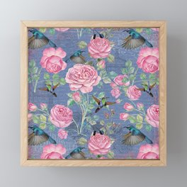 Vintage Watercolor hummingbird and English Roses on blue Background Framed Mini Art Print