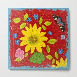 Sunflower on Red Metal Print
