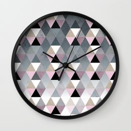Geometric Prisme Pattern - Pink & Grey Wall Clock
