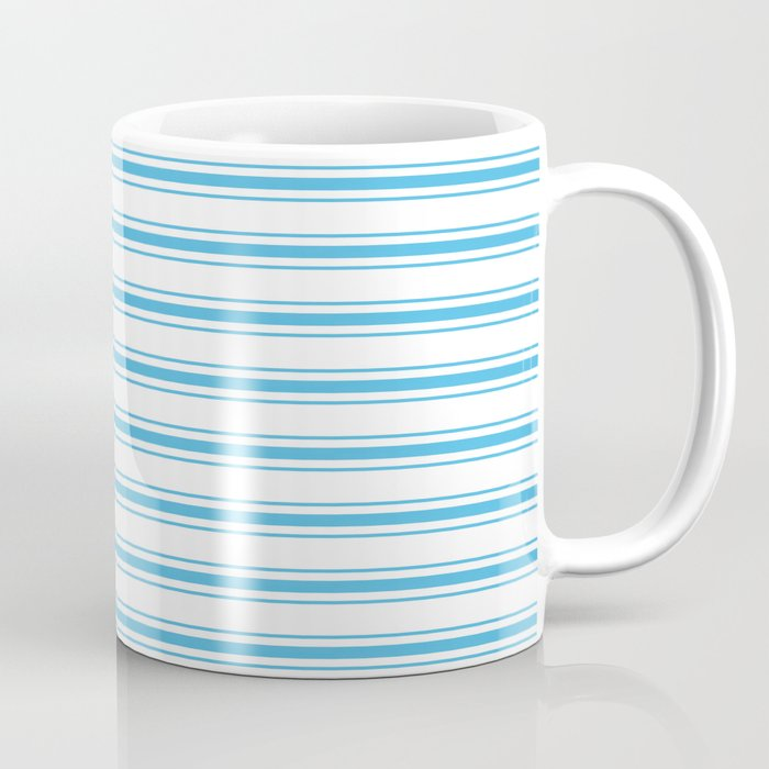 Oktoberfest Bavarian Blue and White Large Mattress Ticking Stripes Coffee Mug