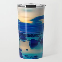 Foggy and stones in the ocean night view Travel Mug