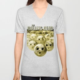 The Rolling Dead - Zombie Themed Bowling Material Unisex V-Neck
