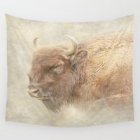 bison Wall Tapestries featuring Bison by Peaky40