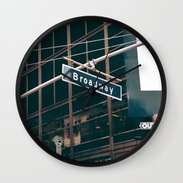 Broadway Street Sign (Color) Wall Clock