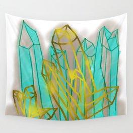 Crystals - Cyan Wall Tapestry