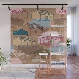 Rustic Rural Village Pattern Wall Mural