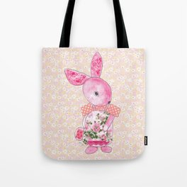 Girls Bunny Floral Tote Bag