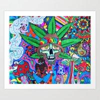 hippie Art Prints featuring Hippie by Allie_gator