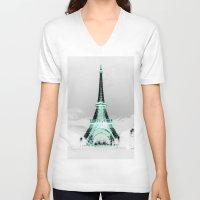 paris V-neck T-shirts featuring pariS Black & White + Mint by 2sweet4words Designs