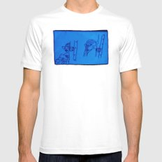reading lady x 2 (edit 1) White Mens Fitted Tee MEDIUM