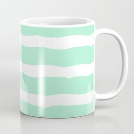 White and mint Stripes Coffee Mug